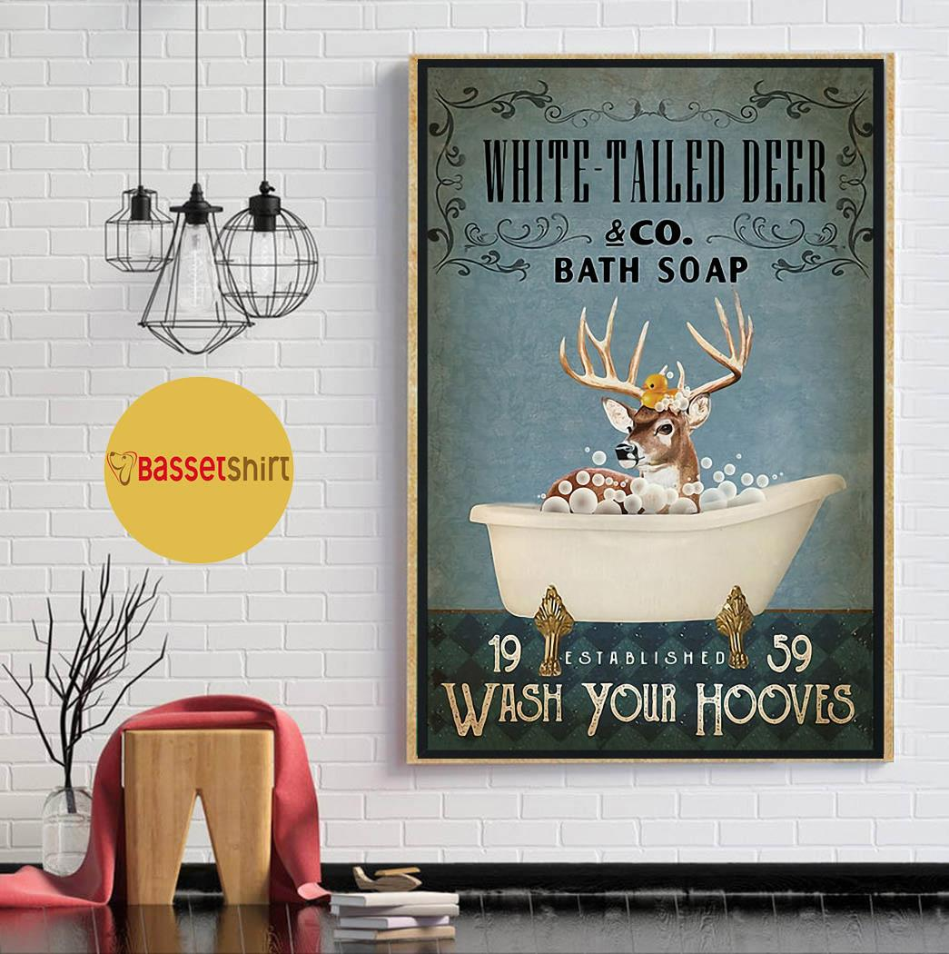 White tailed deer bath soap wash your hooves poster