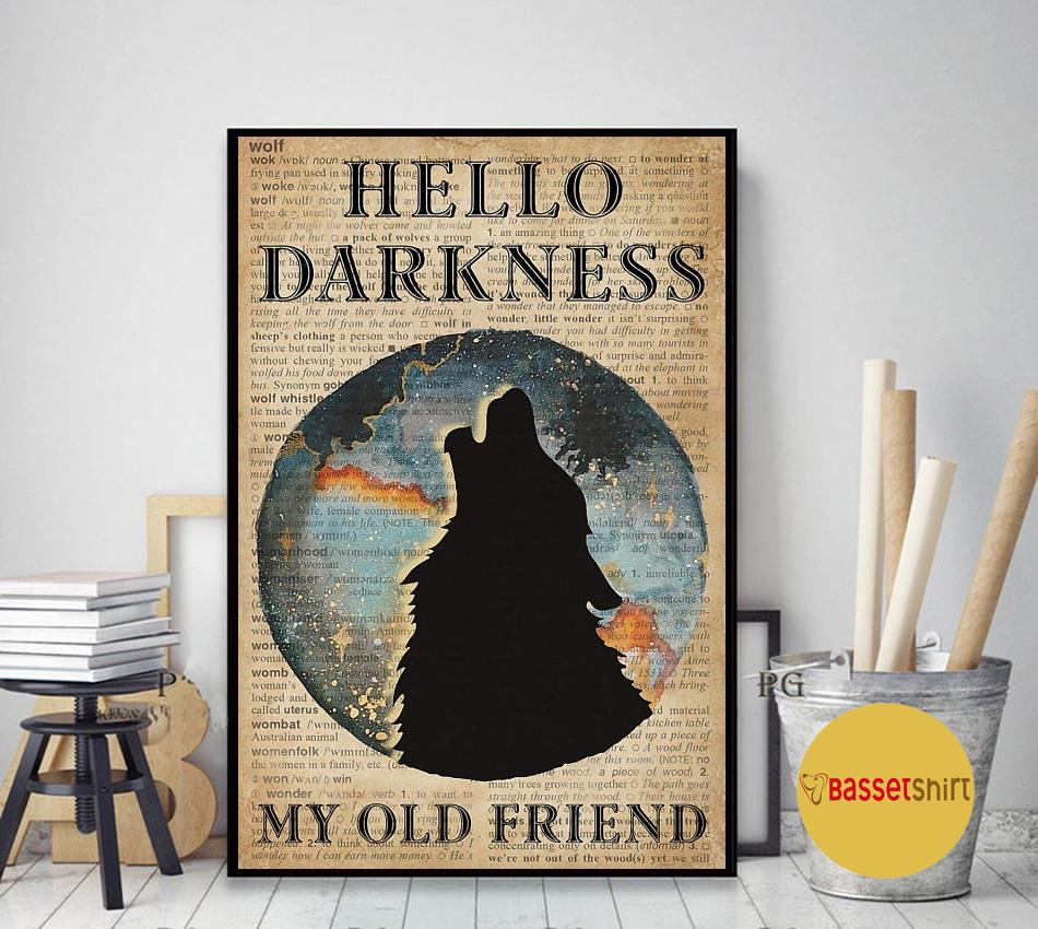 Wolf earth hello darkness my old friend poster canvas art decor