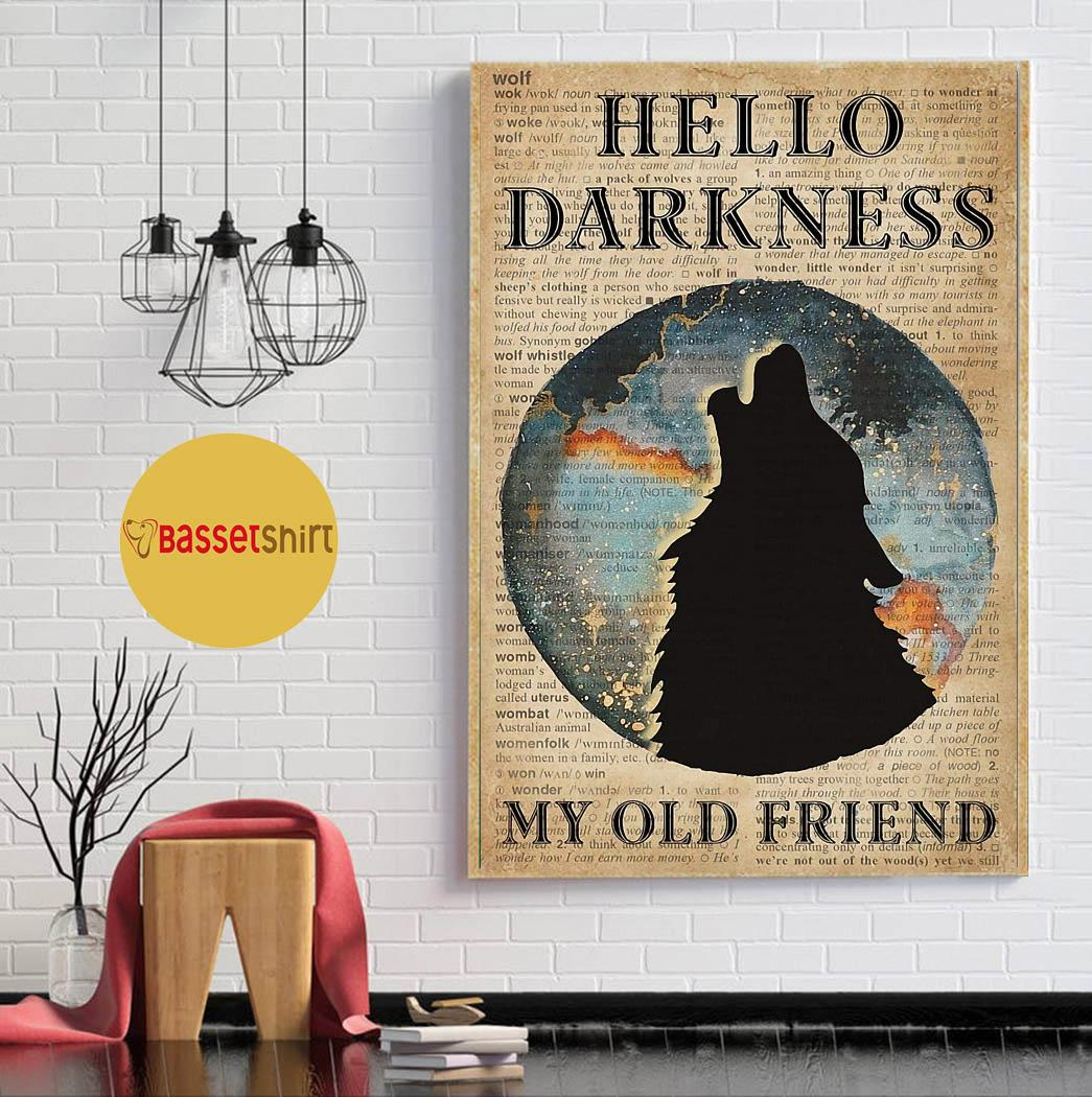Wolf earth hello darkness my old friend poster canvas