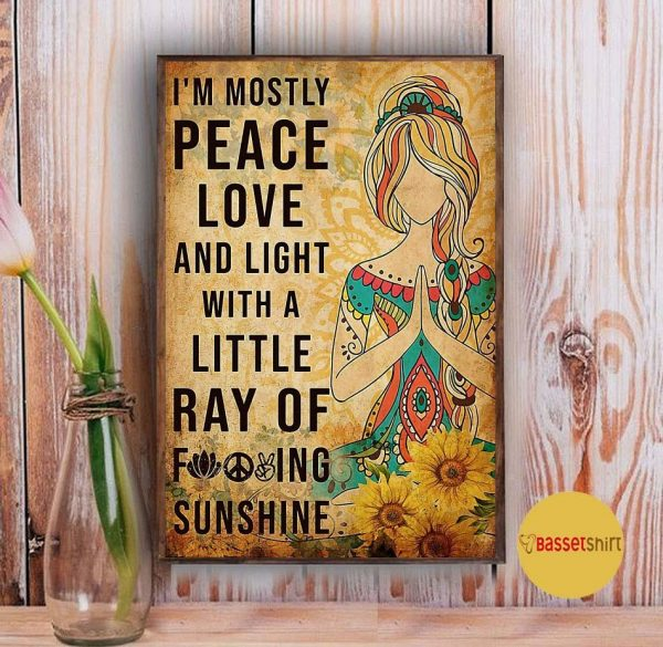 Yoga girl I'm mostly peace love and light vertical poster Vintage