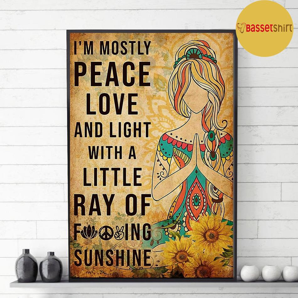 Yoga girl I'm mostly peace love and light vertical poster decor