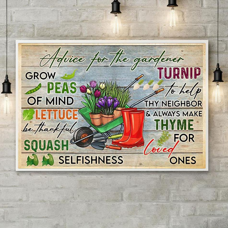 Advice for the gardener print canvas poster