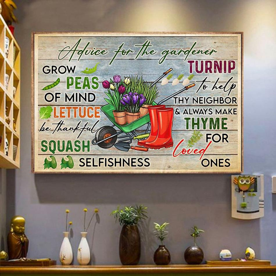 Advice for the gardener print canvas wrapped canvas