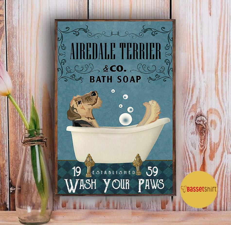 Airedale Terrier bath soap wash your paws poster canvas Vintage