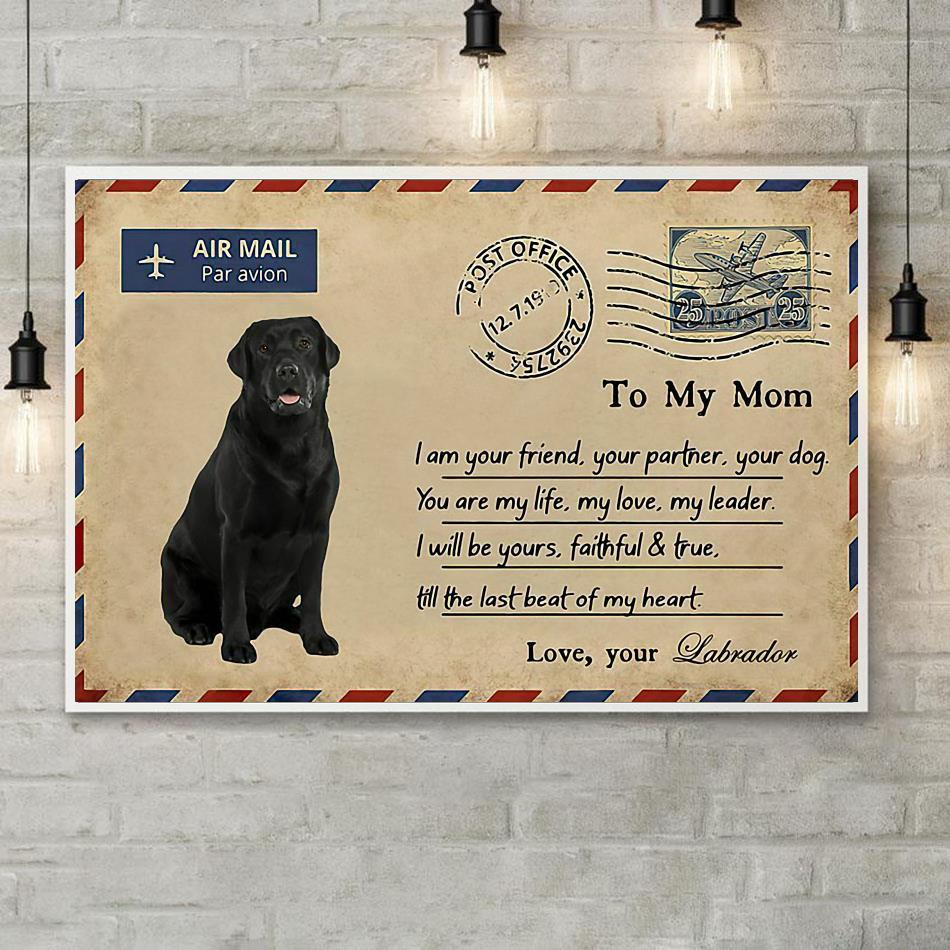 Airmail labrador to mom you are my life poster canvas poster