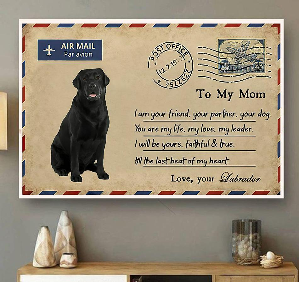 Airmail labrador to mom you are my life poster canvas wall art
