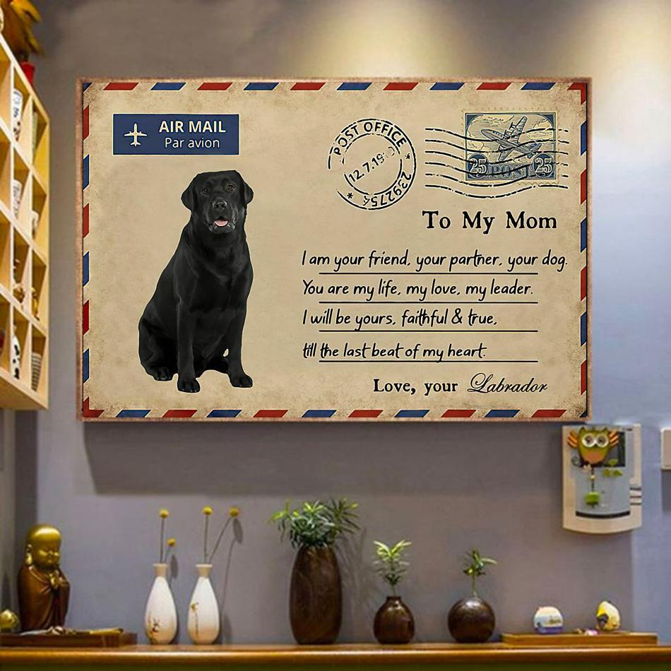 Airmail labrador to mom you are my life poster canvas wrapped canvas