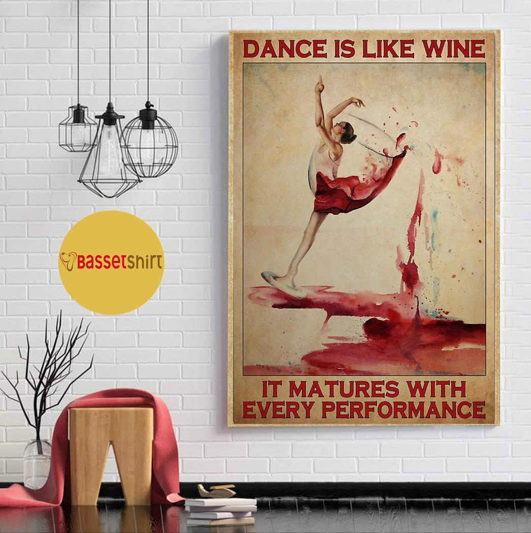 Ballet dance is like wine it matures with every performance poster canvas