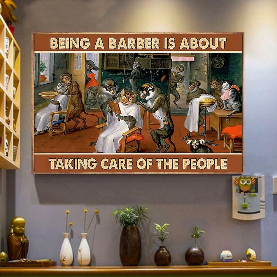 Being a barber is about taking care of people poster canvas wrapped canvas