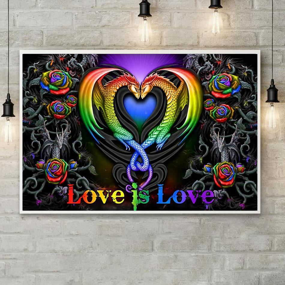 Colorful roses dragon couple love is love poster poster