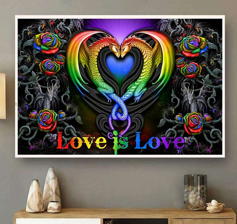 Colorful roses dragon couple love is love poster wall art