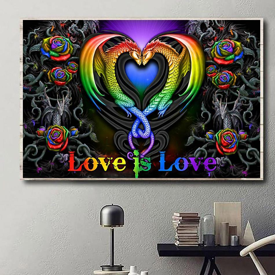 Colorful roses dragon couple love is love poster