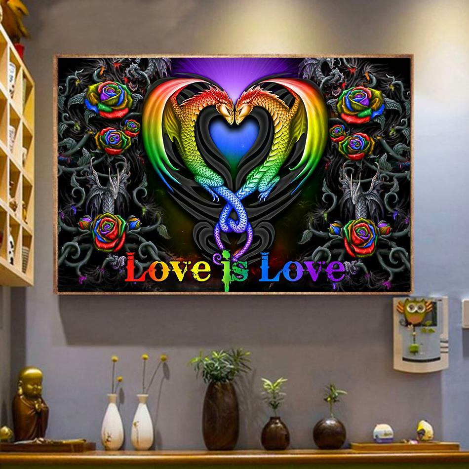 Colorful roses dragon couple love is love poster wrapped canvas