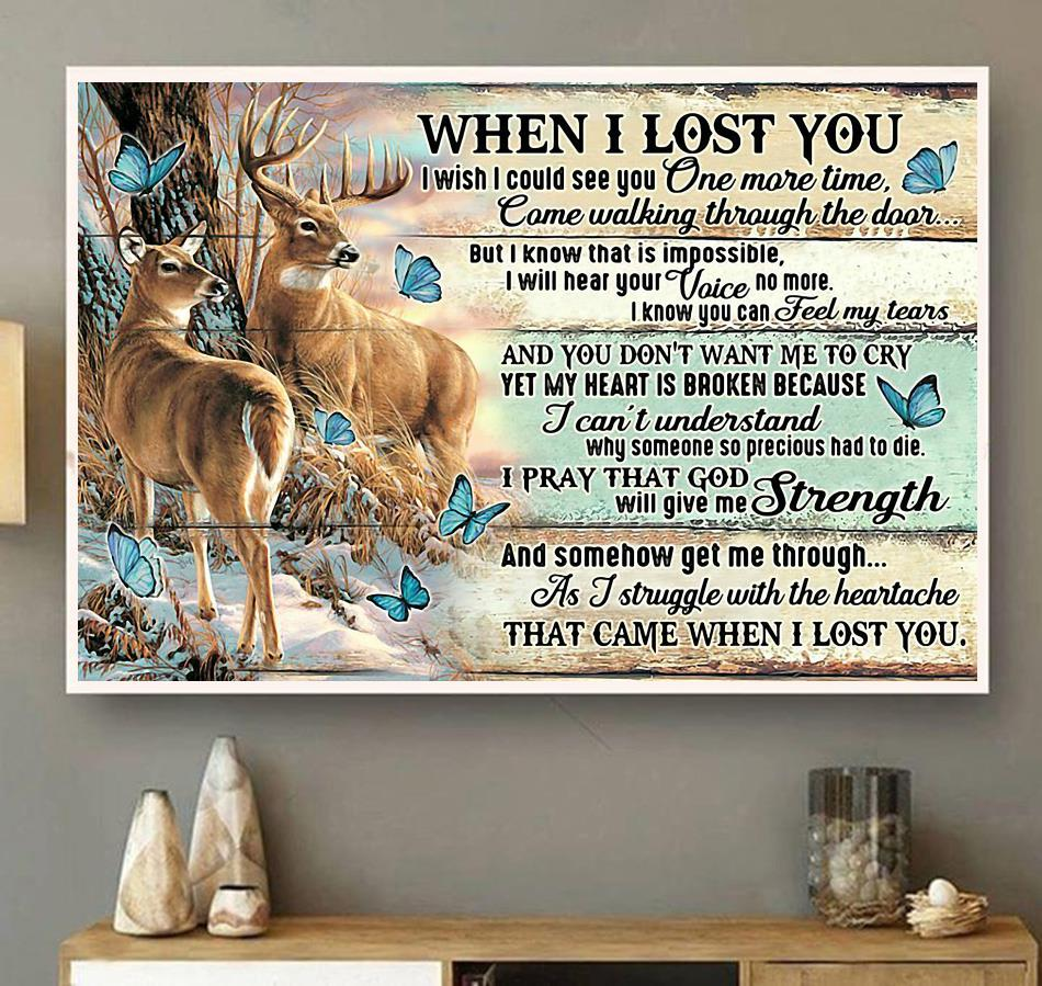 Deer when I lost you I wish I could see you one more time landscape canvas wall art