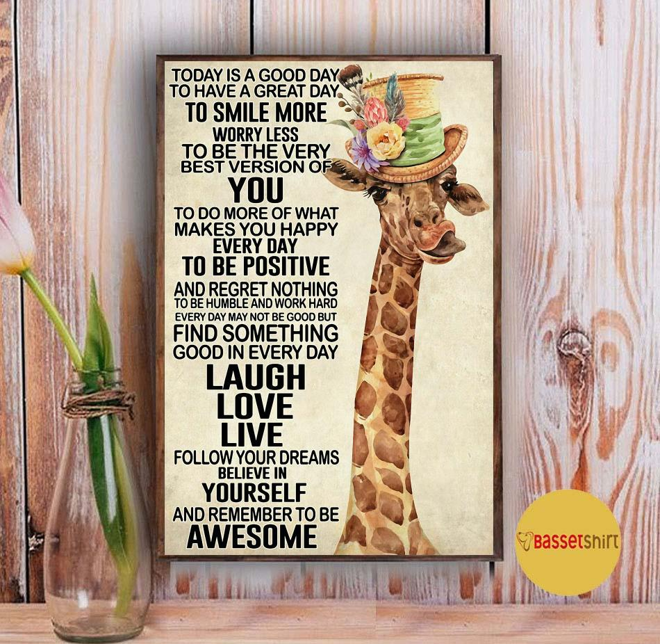 Giraffe today is a good day to smile more worry less poster canvas Vintage
