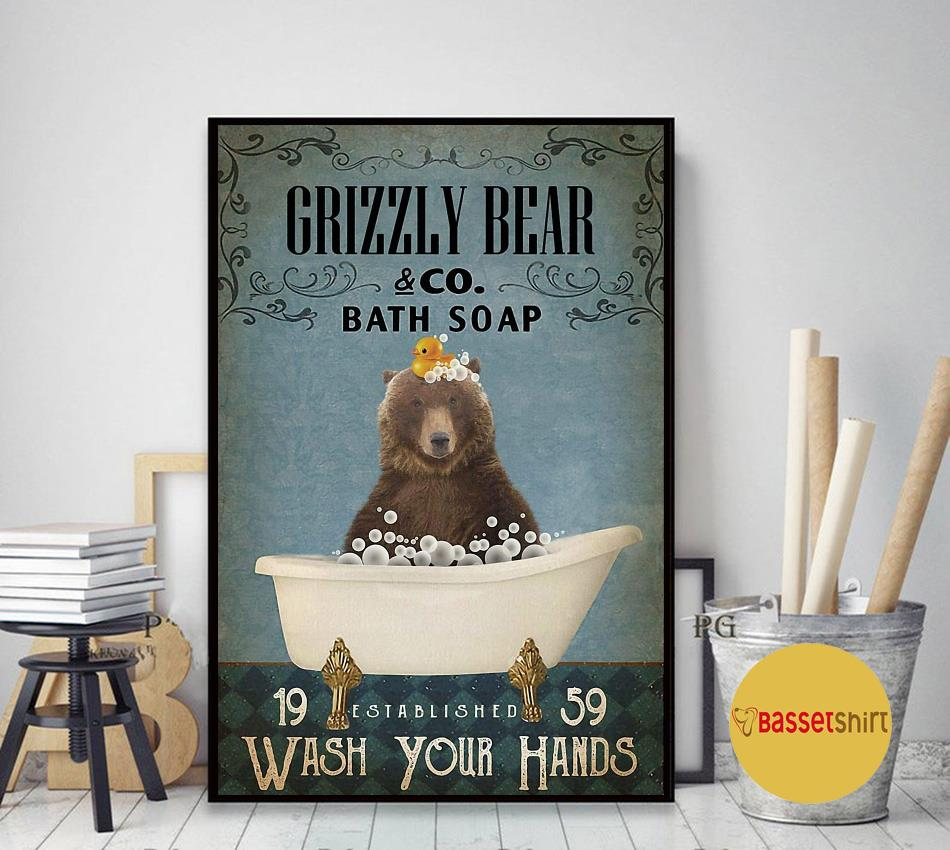 Grizzly bear bath soap wash your hands poster art decor