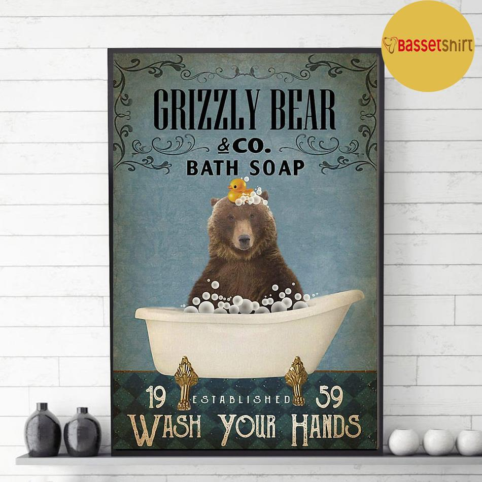 Grizzly bear bath soap wash your hands poster decor