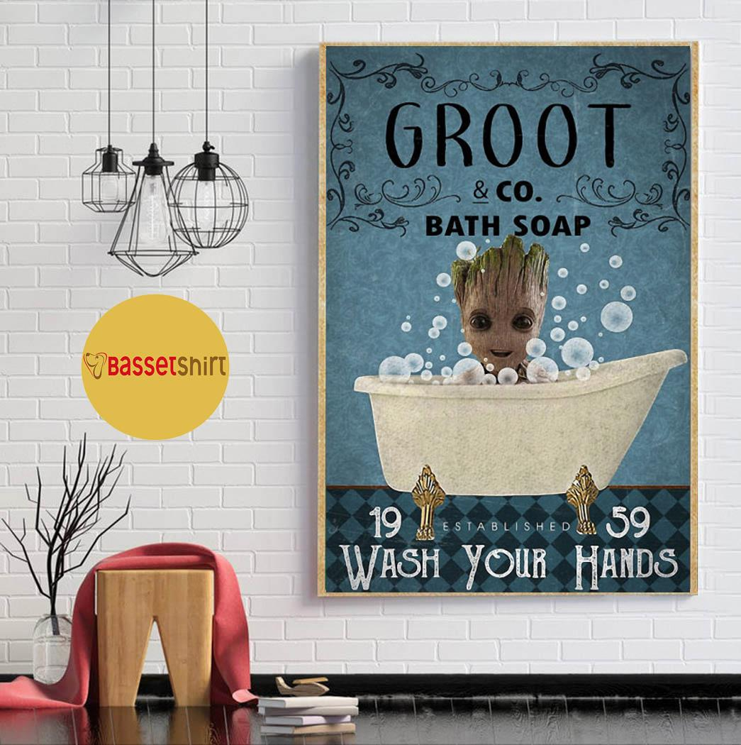 Groot bath soap wash your hands poster canvas