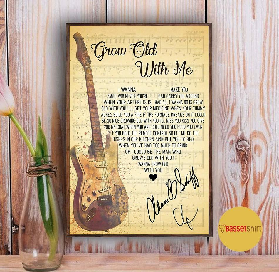 Grow old with you lyrics heart shape poster canvas Vintage