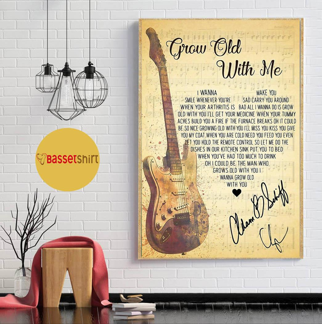 Grow old with you lyrics heart shape poster canvas