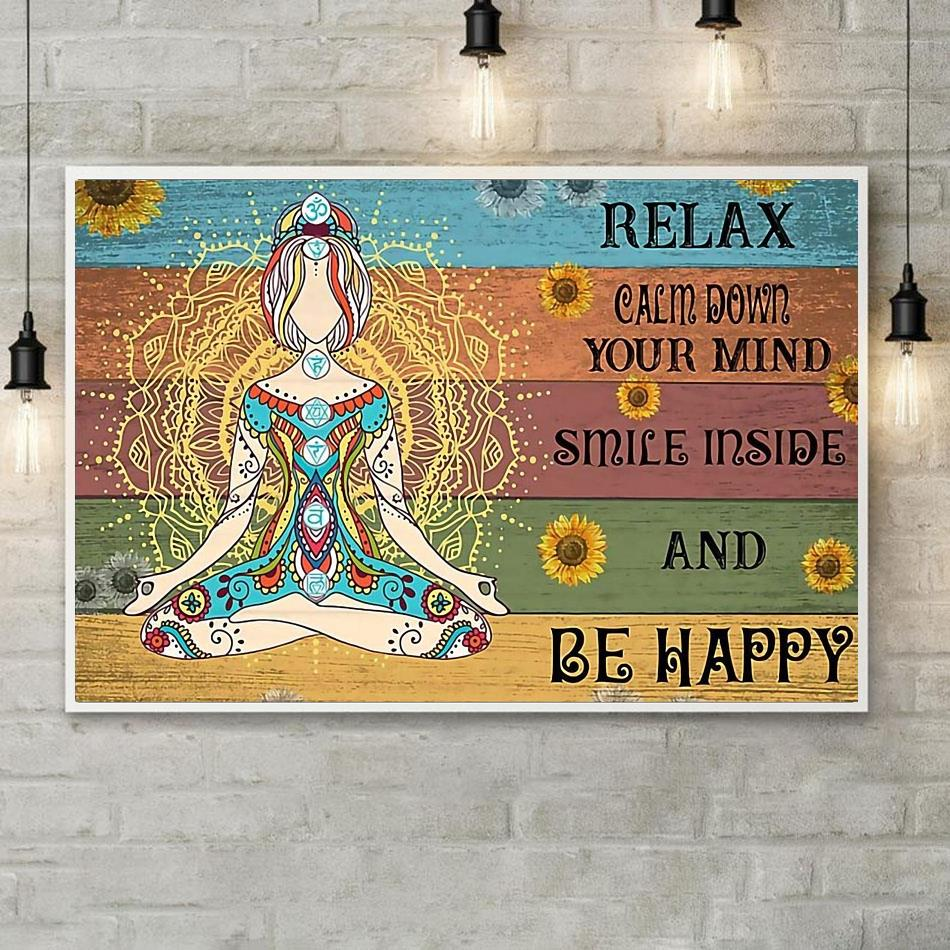 Hippie yoga smile inside and be happy print canvas poster