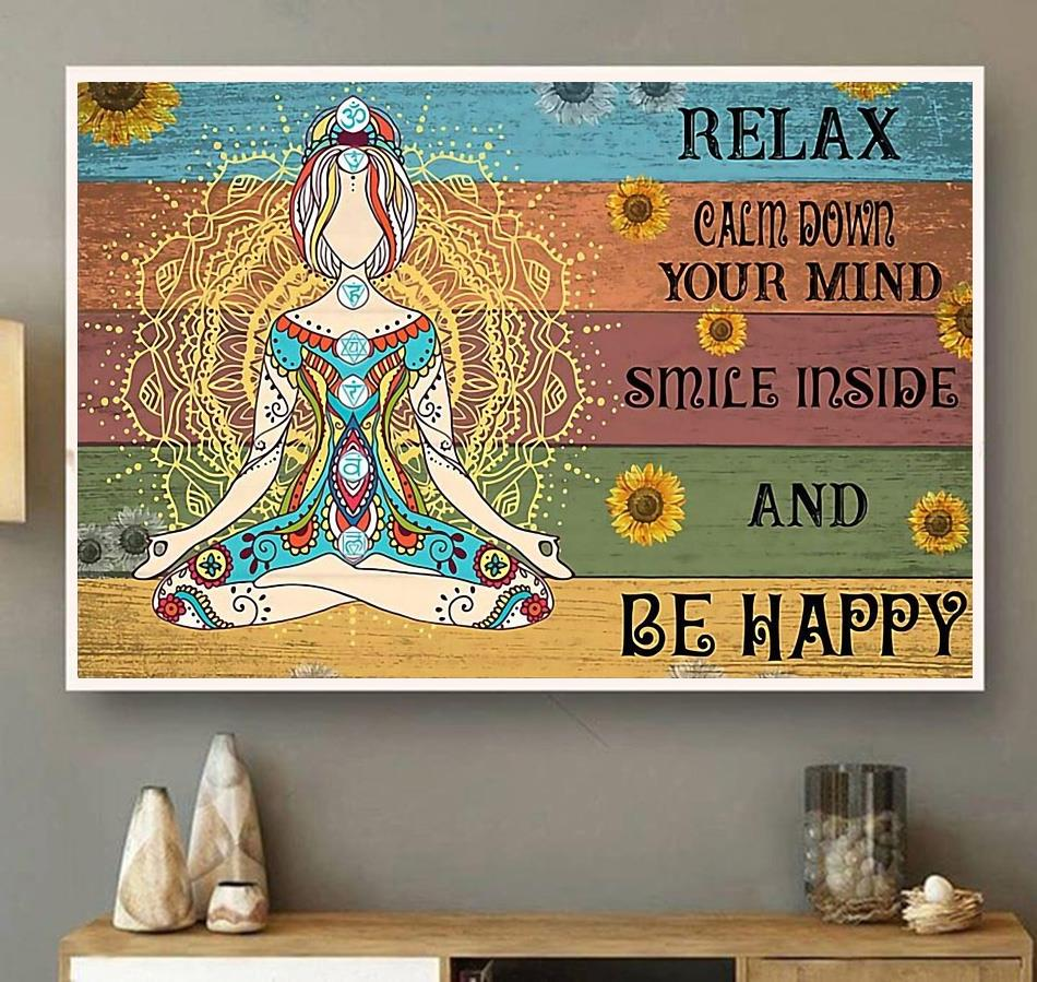 Hippie yoga smile inside and be happy print canvas wall art