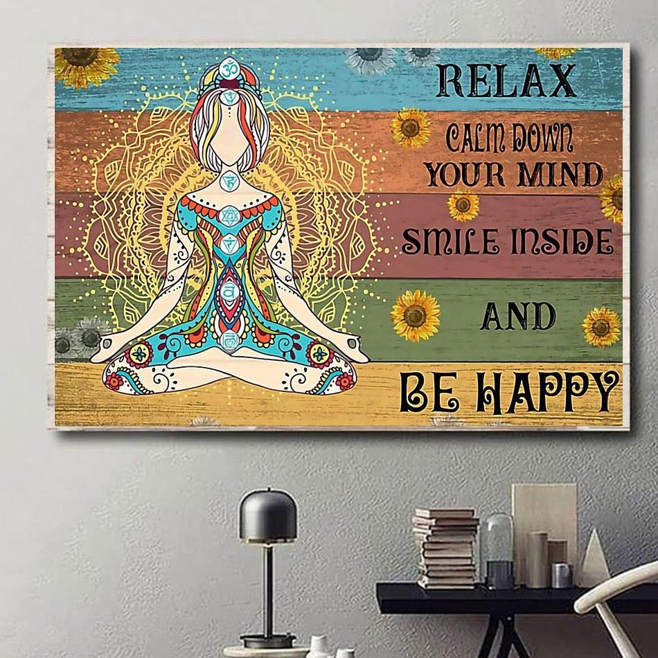 Hippie yoga smile inside and be happy print canvas