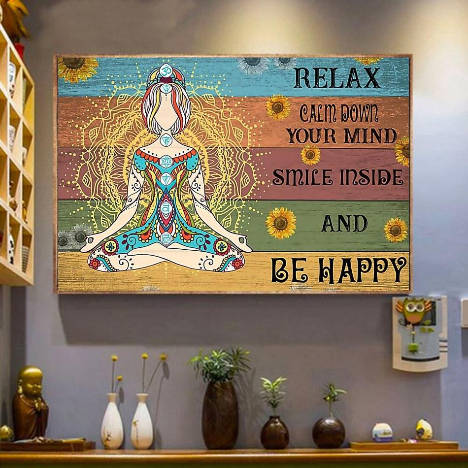 Hippie yoga smile inside and be happy print canvas wrapped canvas