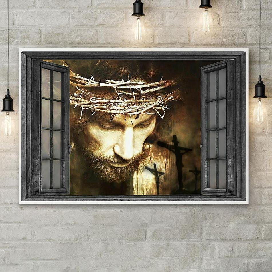Jesus out of the window landscape canvas poster