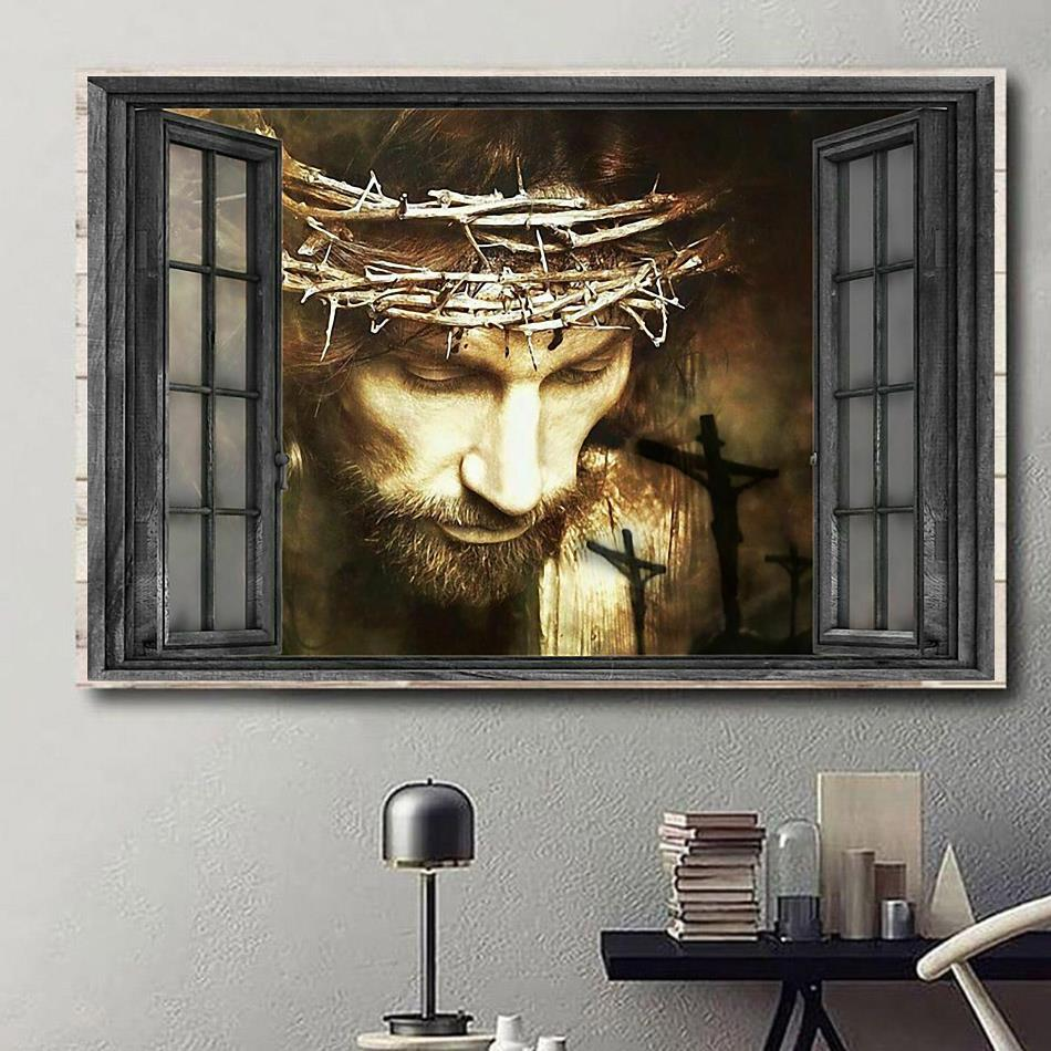 Jesus out of the window landscape canvas