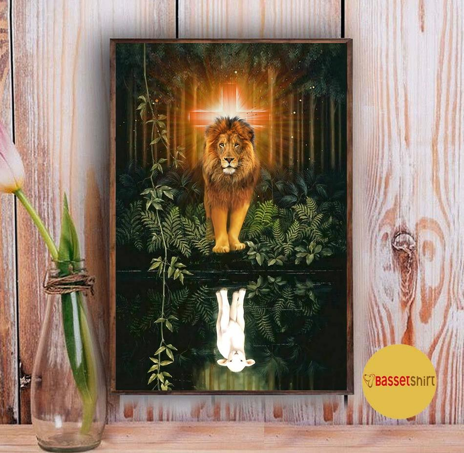 Lion water reflection Jesus is my life poster canvas Vintage