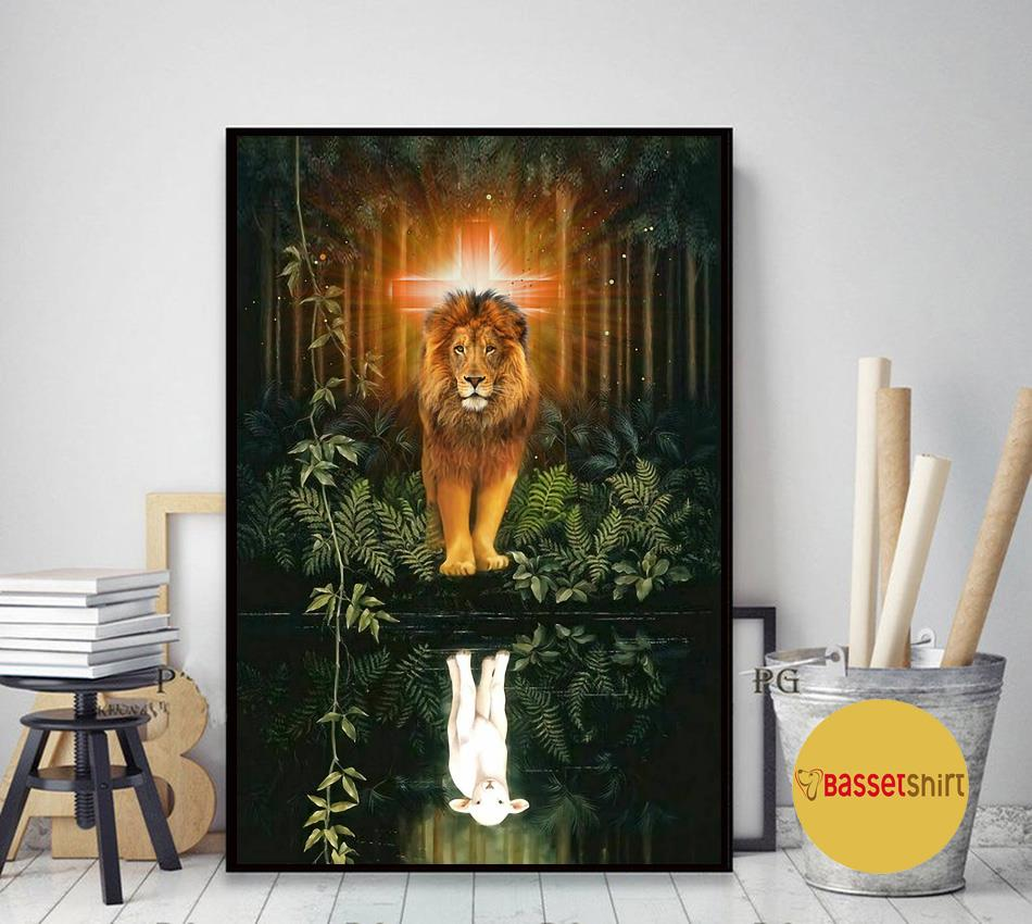 Lion water reflection Jesus is my life poster canvas art decor