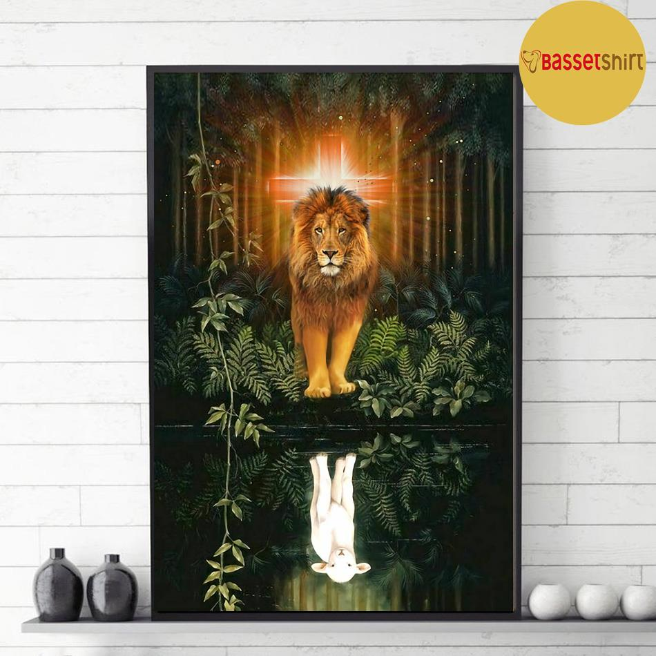 Lion water reflection Jesus is my life poster canvas decor