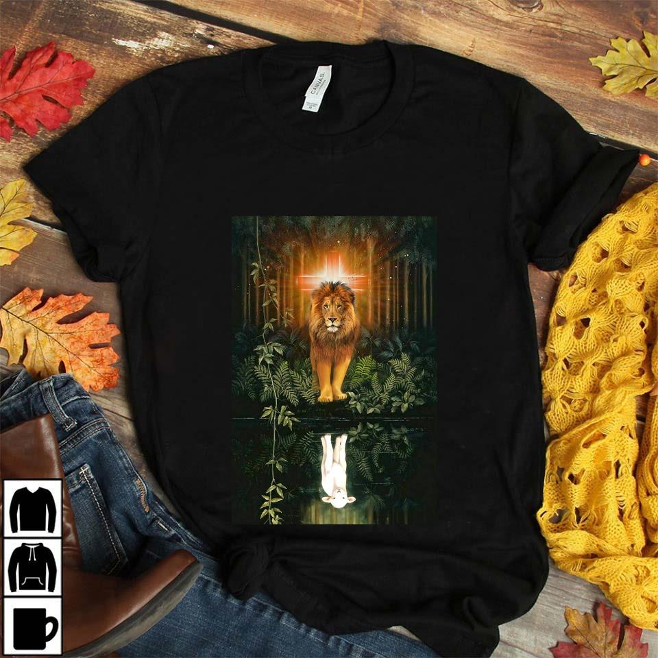 Lion water reflection Jesus is my life poster canvas unisex t-shirt