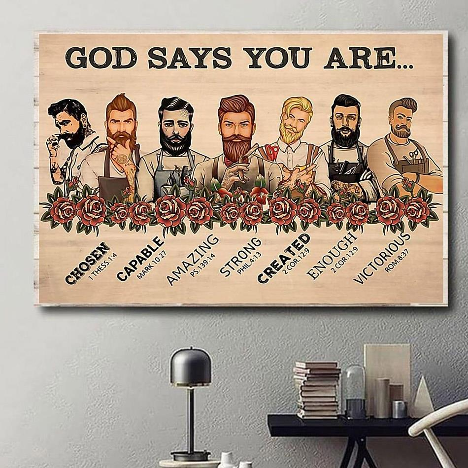 Male Hairdresser God says you are print canvas