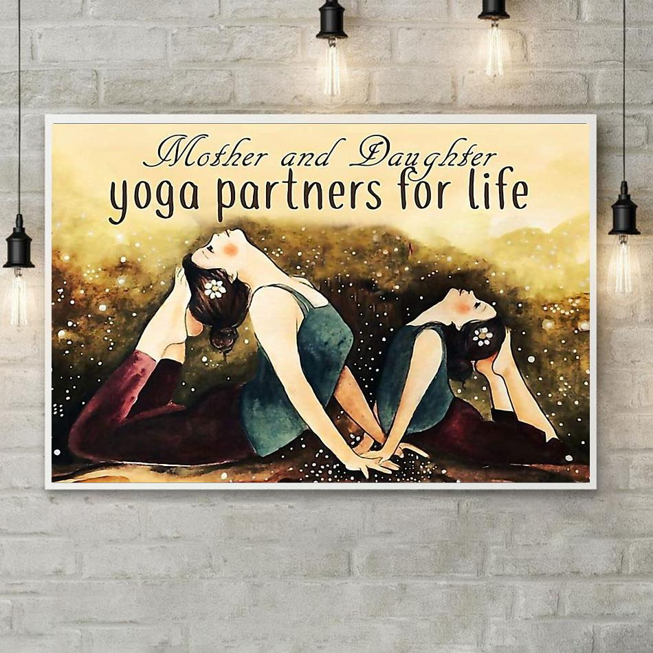 Mother and daughter yoga partners for life poster canvas poster
