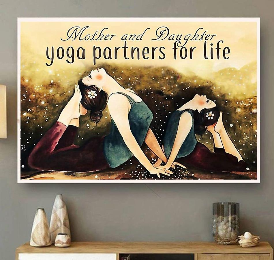 Mother and daughter yoga partners for life poster canvas wall art