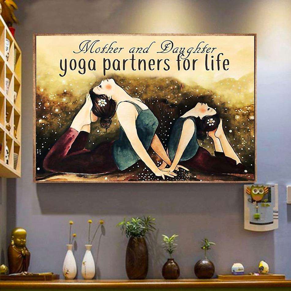 Mother and daughter yoga partners for life poster canvas wrapped canvas