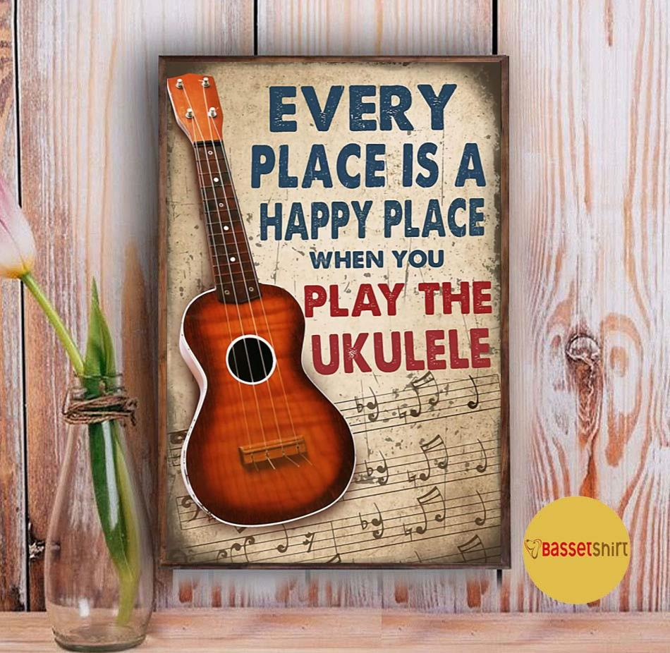 Ukulele every place is a happy places poster Vintage