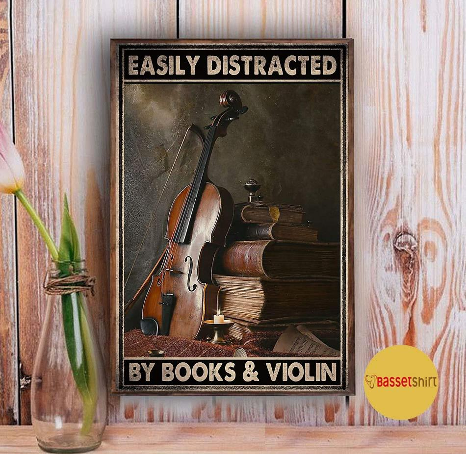 Vintage easily distracted by book and violin poster Vintage