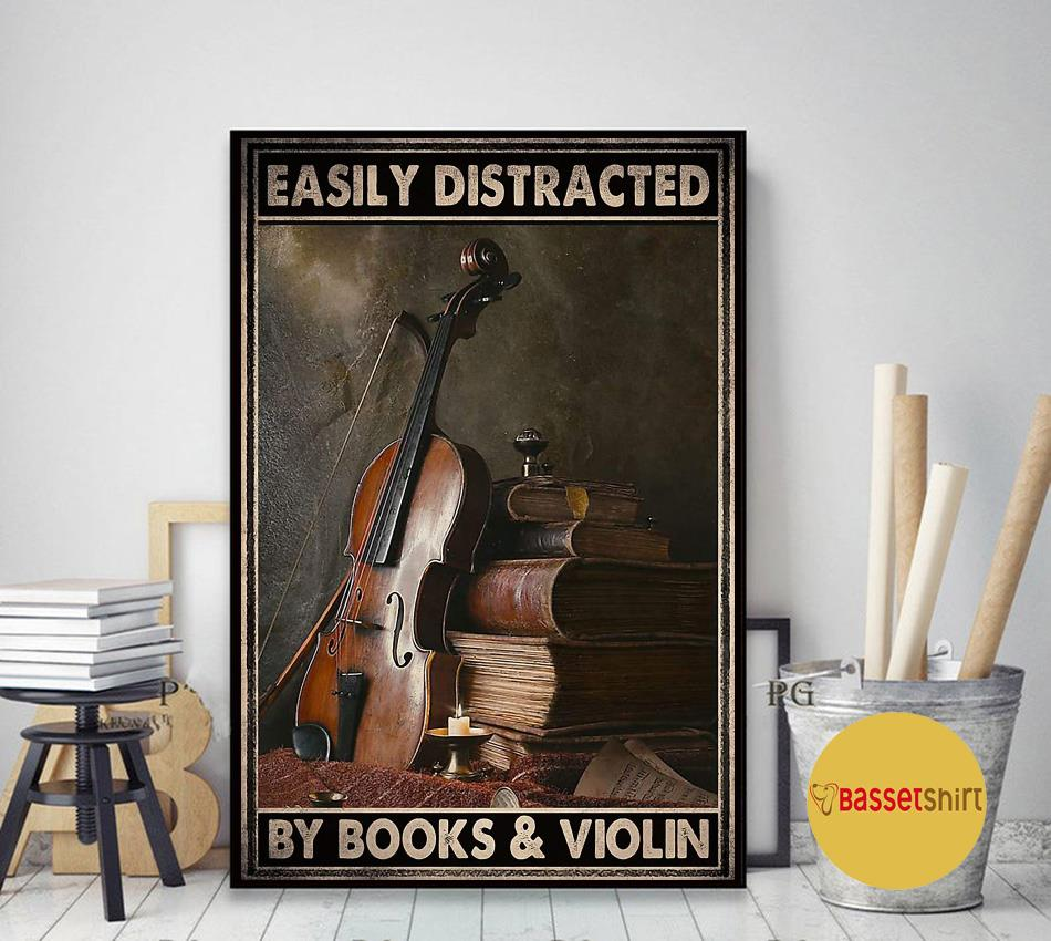 Vintage easily distracted by book and violin poster art decor