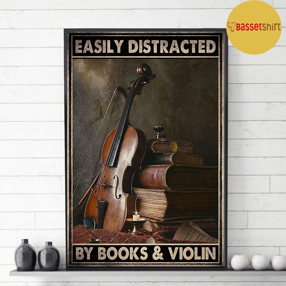 Vintage easily distracted by book and violin poster decor