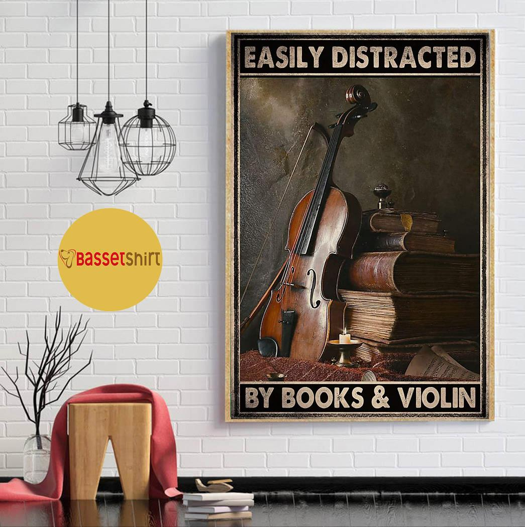 Vintage easily distracted by book and violin poster