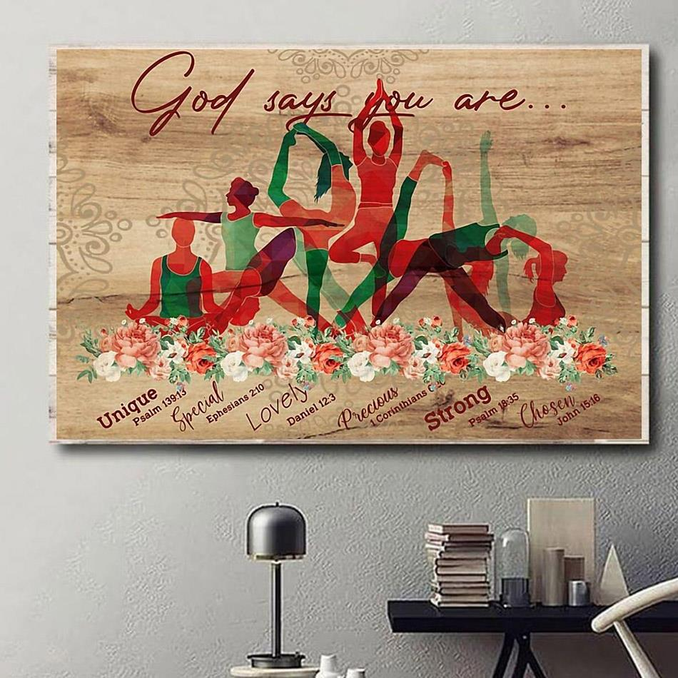 Yoga exercise God says you are print canvas