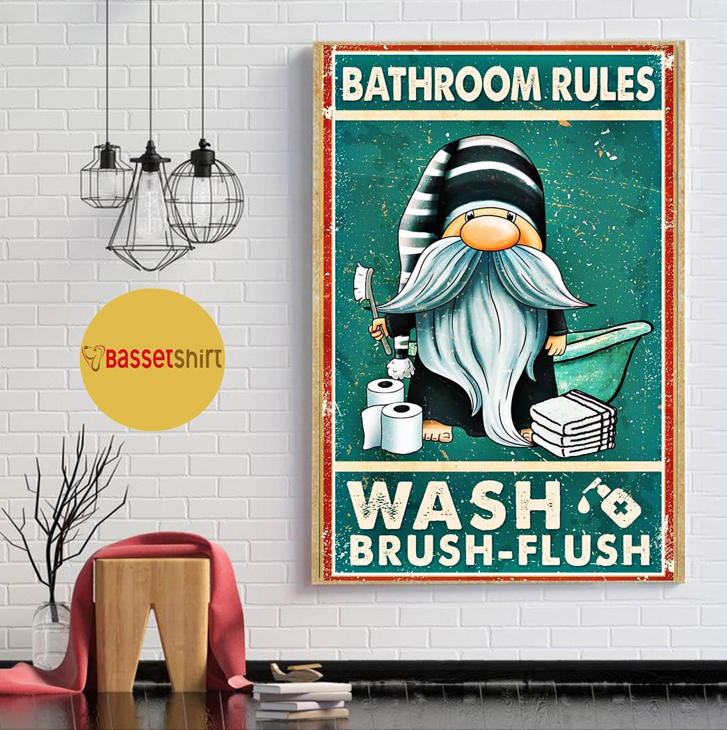 Gnomes bathroom rules wash brush flush poster