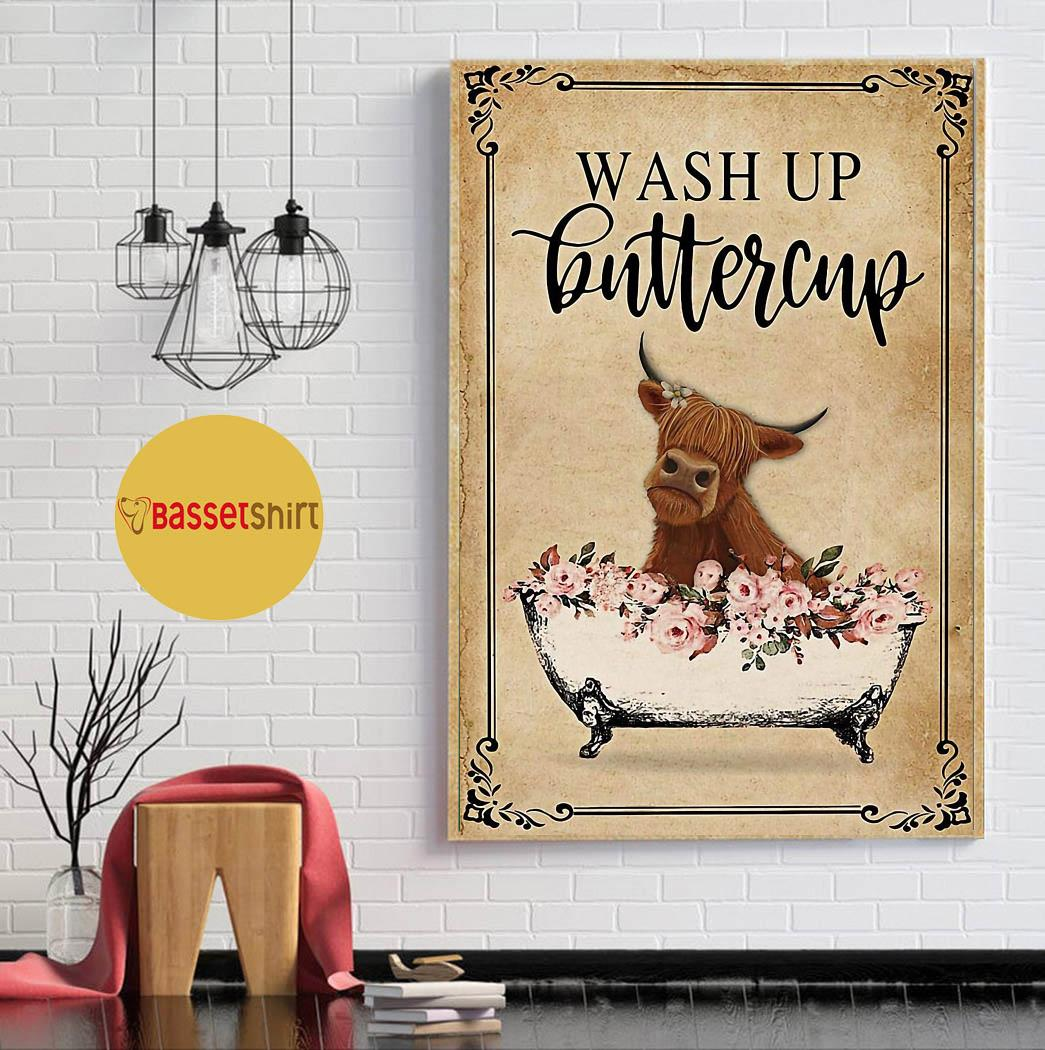 Highland cow bathroom wash up buttercup poster