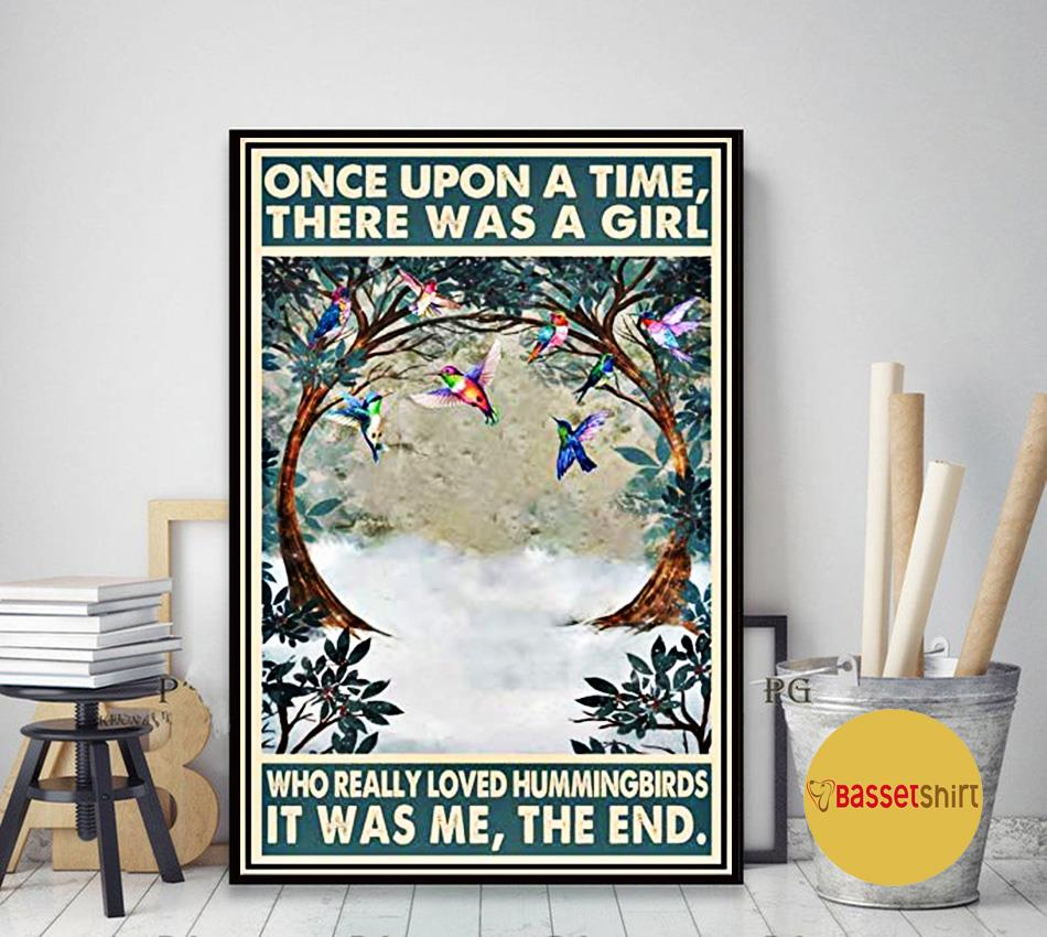 Hummingbirds vintage once upon a time there was a girl poster art decor