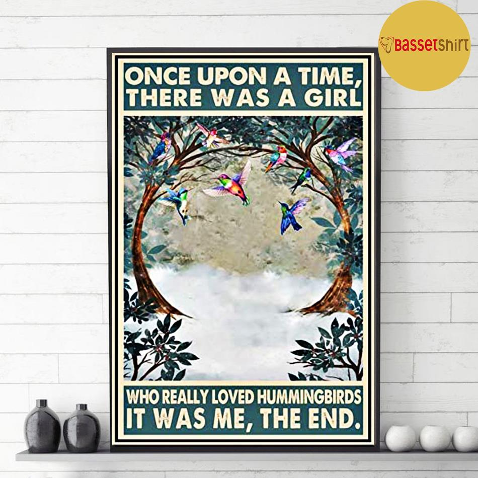 Hummingbirds vintage once upon a time there was a girl poster decor