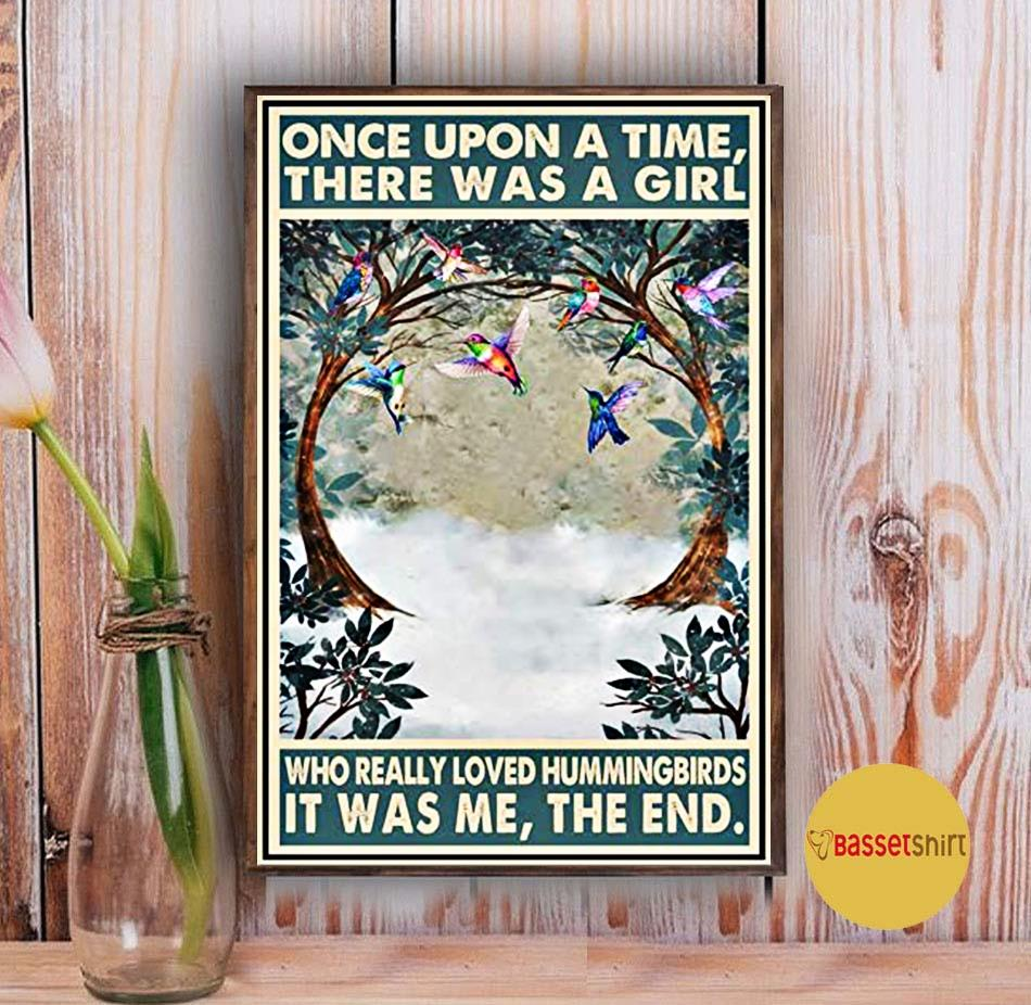 Hummingbirds vintage once upon a time there was a girl poster Vintage