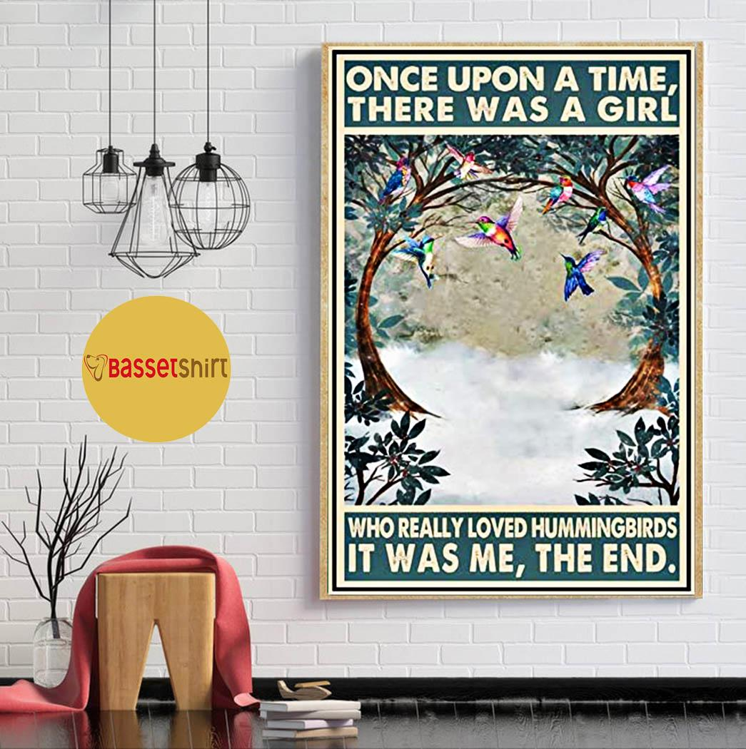 Hummingbirds vintage once upon a time there was a girl poster